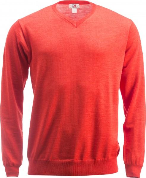 Everett Herren V-neck Pullover Coral Melange-209
