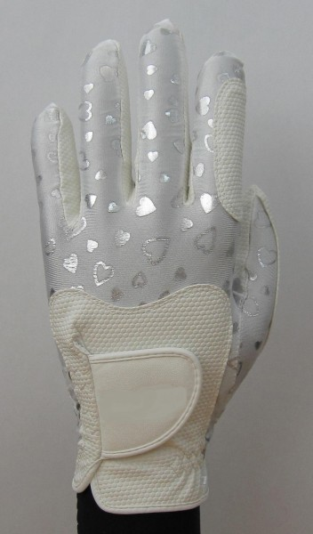 Golf Glove Fit 39 Heart Silver/White