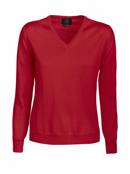 Everett Damen V-neck Pullover Red-35