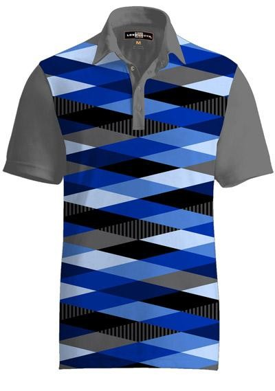 """Loudmouth Herren Fancy Polo """"Fore Shades of Blue"""""""