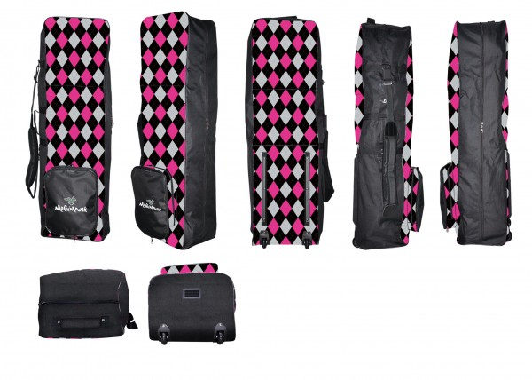 Molhimawk Travel Bag-Pink & Black Argyle