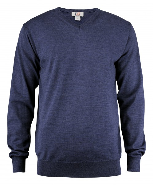 Everett Herren V-neck Pullover Denim Melange 569