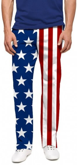 "Loudmouth Men's Golf Pants "" Stars & Stripes StretchTech"""