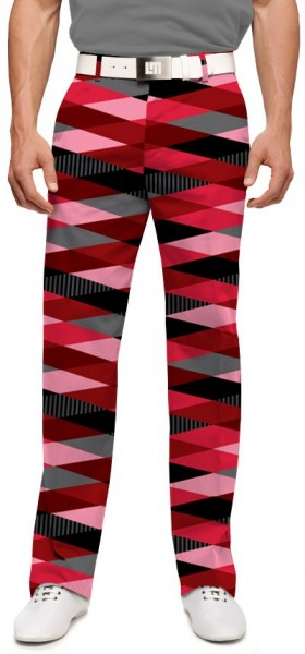 """Loudmouth Men's Golf Trousers """"Fore Shades Of Red"""""""