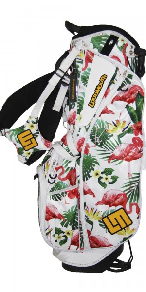 "NEW Loudmouth 8.5 inch Stand Bag ""Famingo Bay White"""