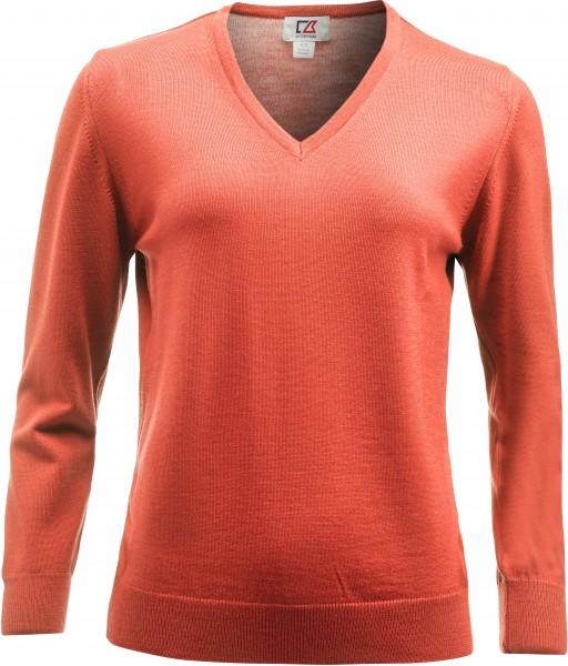 Everett Damen V-neck Pullover Coral Melange-209